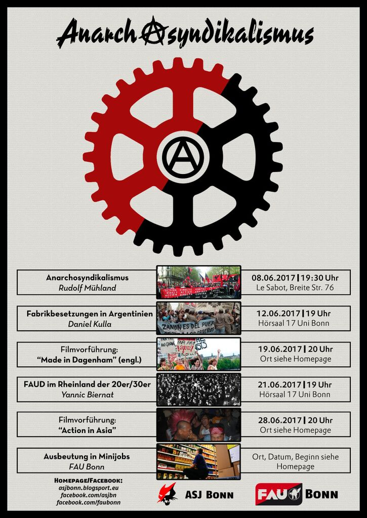 """Vortragsreihe """"Anarchistischer Syndikalismus & Arbeitskämpfe"""""""